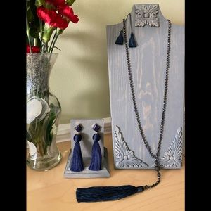 Navy Blue tassel earrings and necklace